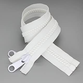 2PCS #10 36 Inch Heavy Duty Zippers for Sewing Separating Large Plastic Zippers White Tape with Double Pull Tab Slider, Sleeping Bag, Boat, Canvas, Cover, Trampoline, Dog Bed,Tent (36