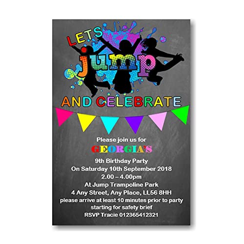 Personalised Trampoline Birthday Party Invitations