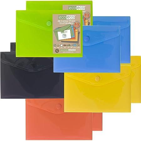 eco-eco eco078x2 Lot de 10 Chemises en Plastique 50% recyclées Couleurs assorties Vert/Noir/Bleu/Jaune/Orange A6