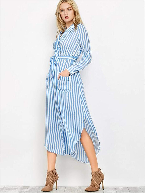 Maternity Wrap Dress, European and American Sexy Stripes, Long Sleeves, Deep V Slit Dress, Belt, Maternity Shirt Skirt.