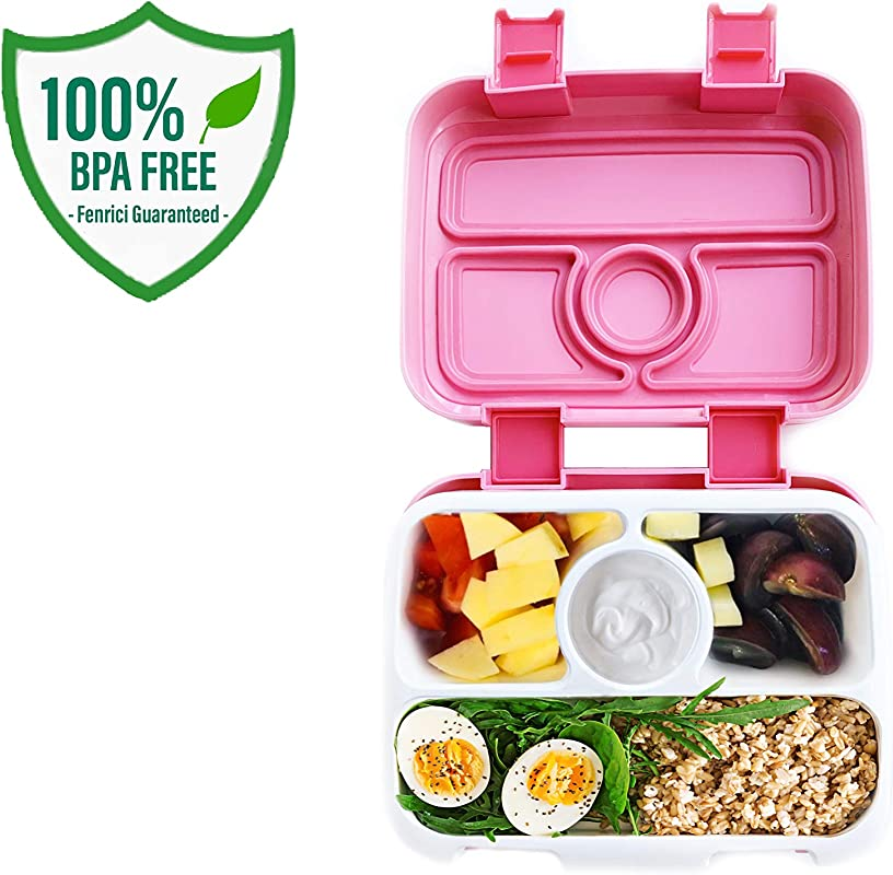 Bento Lunch Box For Kids By Fenrici Leak Proof Kids Lunch Box Removable Tray For Easy Cleaning Perfect Portion Sized For Ages 5 12 BPA Free Food Safe Support A Great Cause Pink