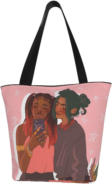 Lesbian Lgbt Afro Girl Love Pride Themed Printed Women Canvas Handbag Zipper Shoulder Bag Work Booksbag Tote Purse Leisure Hobo Bag For Shopping