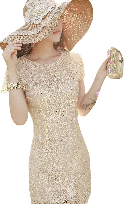 Unomatch Women's Stereo Flower Embroided Short Sleeves Wedding Dress Beige