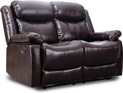 Amazon Com Divano Roma Furniture Bonded Leather Double Recliner