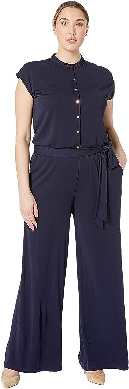 Plus Size Buttoned Jersey Jumpsuit