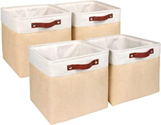 Univivi Fabric 13inch Cube Storage Bins Decorative Cube Organizer Baskets with Handles, Foldable Storage Bin for Bedroom, ...