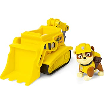 Paw Patrol 6054435 Rubble's Bulldozer Vehicle with Collectible Figure, for Kids Aged 3 Years and Over, Multicolour