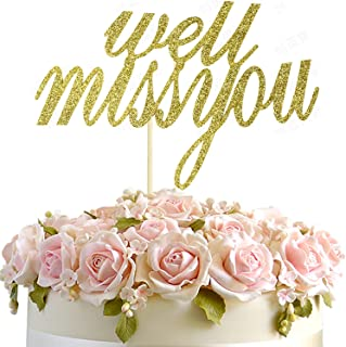 Junucubo Well Miss You Cake Topper Gold Glitter Well Miss You Cake Topper Cake Decorations Farewell Party, Retirement, Job Change, Graduation Party,Theme Party (Well Miss You)