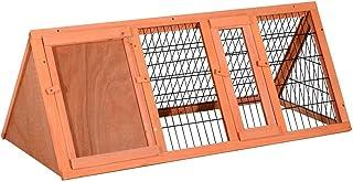 HOMCOM PawHut Jaula Conejo Conejera de Exterior con Buena Ventilación 2 Tablas Protección de Lluvia y Calor del Sol Ligero Madera de Abeto Estable Duradera Metal 118x50x45 cm