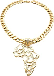 GWOOD Africa Map Gold Color Pendant with 25 Inch Thick Link Necklace