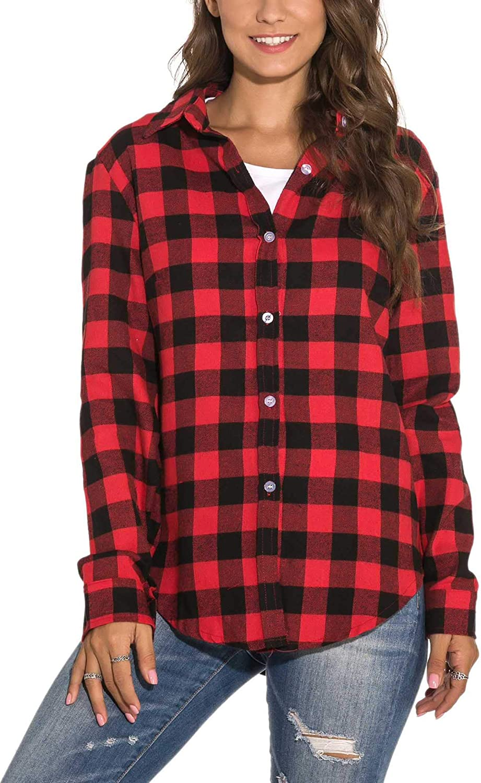 GUANYY Women's Long Sleeve Casual Loose Classic Plaid Button Down Shirt