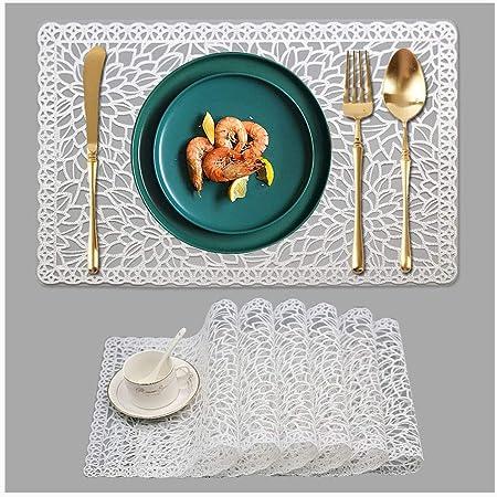 Amazon Com World Buyers Blue Vinyl Lace Placemats Set Of 6 18x12 L Home Kitchen