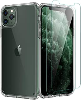 iPhone 11 Pro Case,[Airbag Series] with [2 x Tempered Glass Screen Protector] [ Military Grade ] 15Ft. Drop Tested [Scratch-Resistant] | Wireless Charging | for Apple iPhone 11 Pro 5.8 Inc- Clear