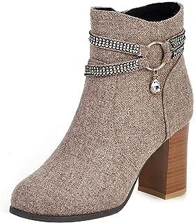 AbbyAnne Women Elegant Denim Boots Block High Heels Zipper
