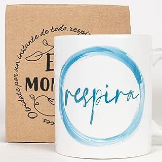 Taza Desayuno con Mensaje Respira_ Regalos Originales para Mujer_ Taza café Infusiones o Decoración Hogar en Cerámica de G...