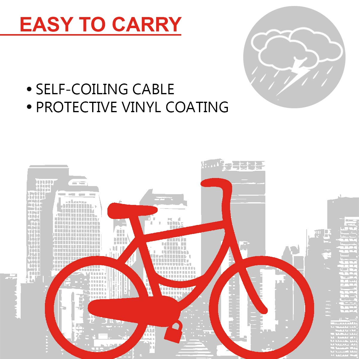 MASTER LOCK Candado Bicicleta [1,8 m Cable] [Llave] [Exterior ...