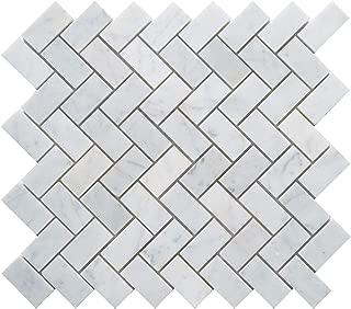 5 Sheets Genuine Carrara White Marble Mosaic Tile, CWMM1CRO, Chip Size 1