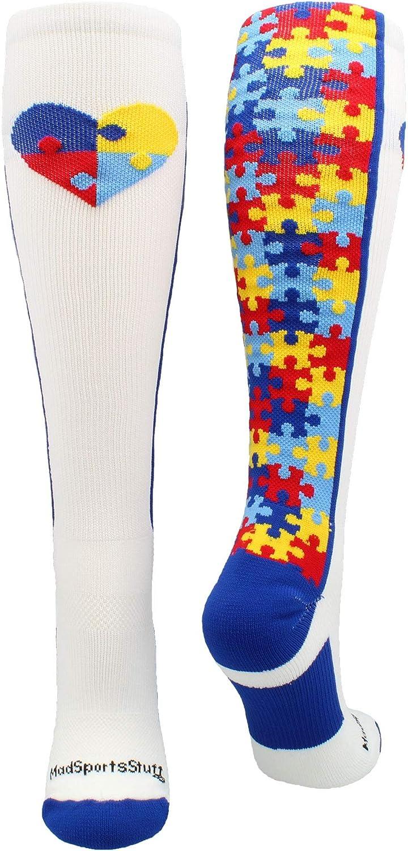 MadSportsStuff Puzzle Heart Autism Awareness Over The Calf Socks