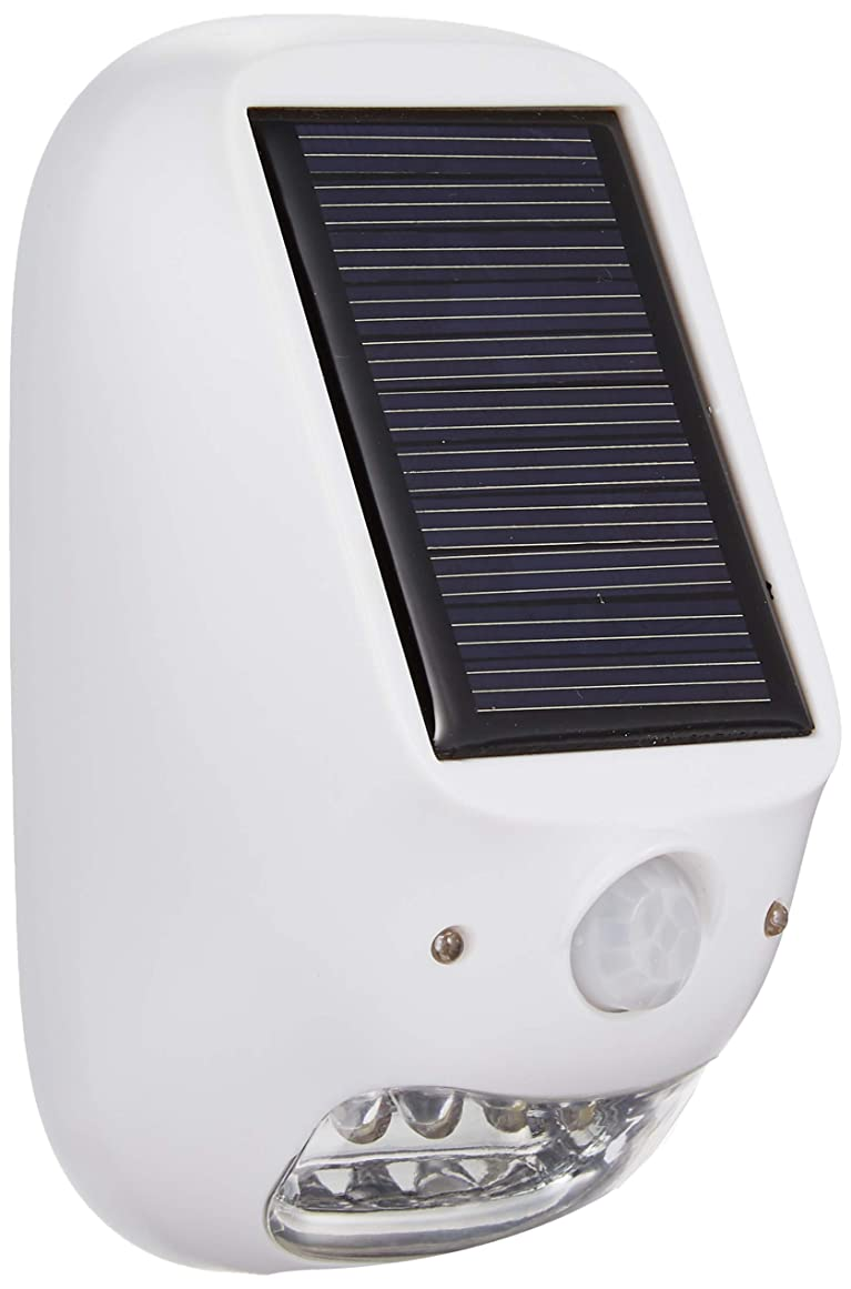 相対サイズマイクオーディションヤザワ 屋外用ソーラー式LEDセンサーライト 防雨型 乾電池式 ソーラーパネル付 配線不要 明暗&人感センサー付 NL57WH