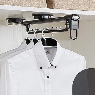 Porte manteau Garde-robe push-pull cintre, Portemanteau vêtements monorail en rack pôle matériel accessoires télescopique,...