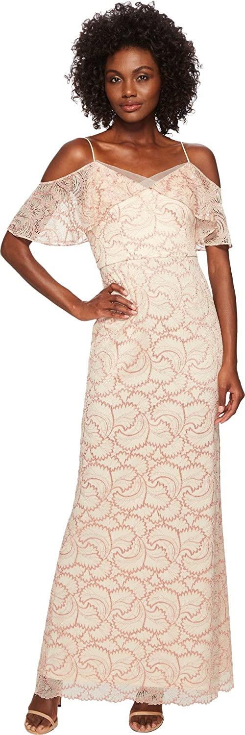 Adrianna Papell Womens Cold Shoulder Metallic Lace Gown