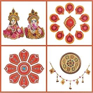 Ramya Pooja & Decoration kit (41 Items incl. Laxmi-Ganesh Idols, Thali, Ghanti, Rangoli, Bandhanwar, Yantras, Diyas, Gangajal & Pooja Material) for Navratra, Ambe & Durga Pooja, Diwali Festival