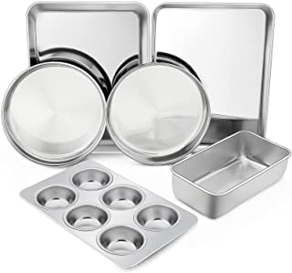 TeamFar Stainless Steel Bakeware Set, 6-Piece Metal Baking Roasting Pan Set, Includes Rectangular/Square/Round Cake Pan, L...