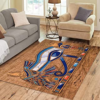 Semtomn Area Rug 5' X 7' Egypt Egyptian Papyrus Depicting The Horus Eye Hieroglyphics Pharaoh Home Decor Collection Floor Rugs Carpet for Living Room Bedroom Dining Room