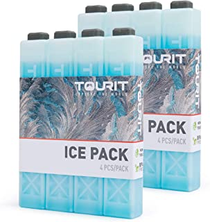 TOURIT Ice Packs for Coolers Reusable Long Lasting Freezer Packs for Lunch Bags/Boxes, Cooler Backpack, Camping, Beach, Picnics, Fishing and More (Set of 8)