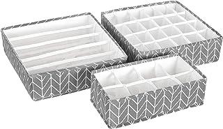 SONGMICS Lot de 3 Boîtes de Rangement Pliable pour sous vêtements, Séparateur de tiroir, Organisateur de tiroir, pour Culo...