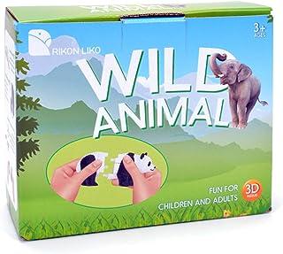 Rikon Liko Wild Animals Toy Playset Assembly Realistic Wild World Animals kit 3D DIY Building Block Wilding Animals Figure...