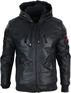 Mens Black Hood Real Leather Bomber Jacket Red Stripes Quilted Slim Fit Casual Black s
