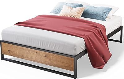 Zinus 35cm Queen Bed Base | Suzanne Industrial Frame Strong Black Metal Pine, Timber Wood Wooden | Good Design Award Winner