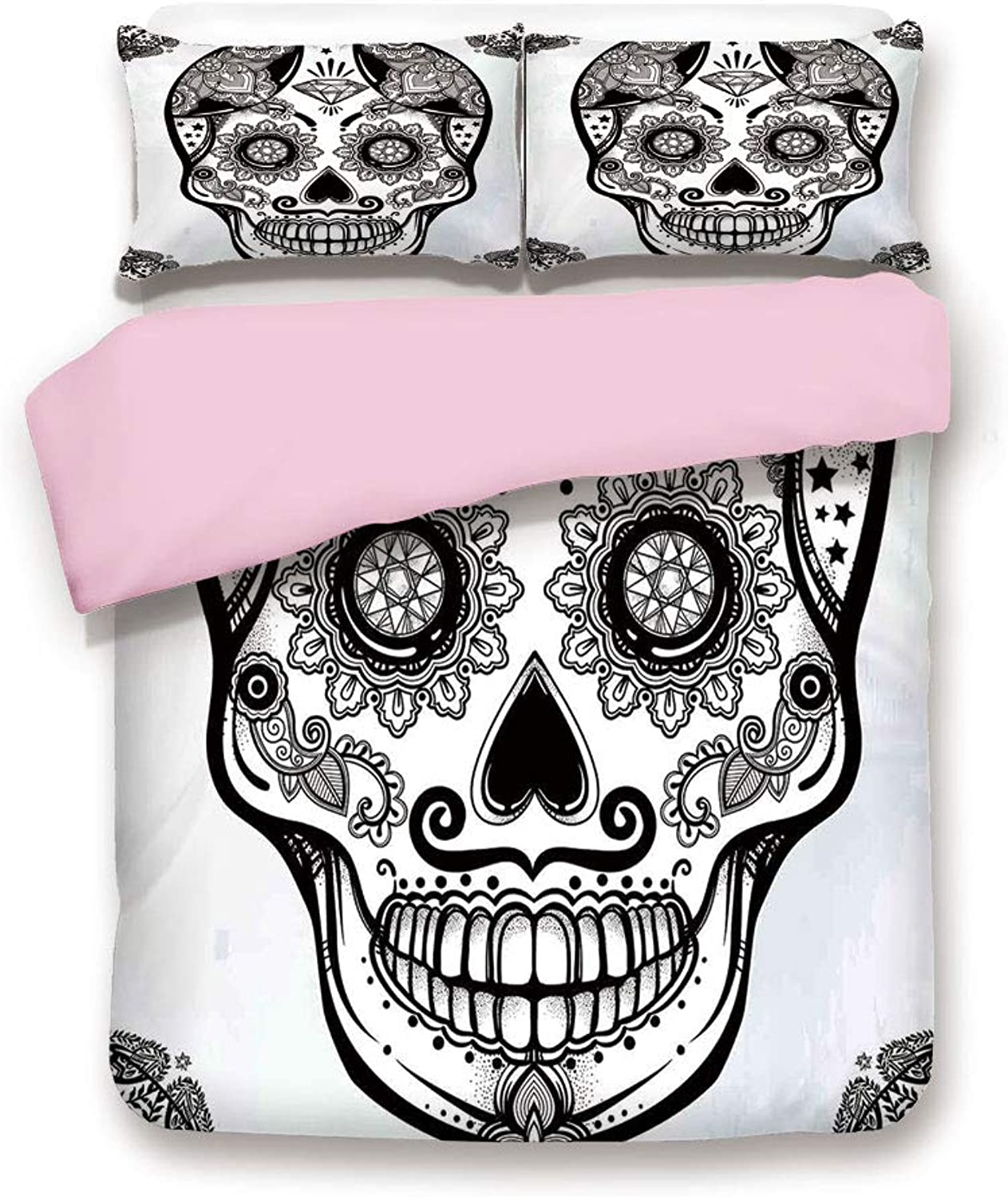Pink Duvet Cover Set/Twin Size/Holiday Sugar Skull Print with Floral Mandala Spanish Folk Art/Decorative 3 Piece Bedding Set with 2 Pillow Sham/Best Gift for Girls Women/Black and White