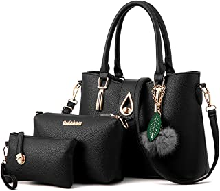 JHVYF Women's Pu Leather Weave Handbag 3 Pieces Tote Bag Set Large Capacity Shoulder Purse Crossbody Bag