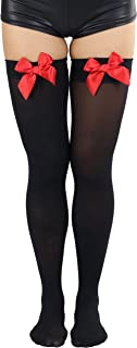 ToBeInStyle Women's Opaque Satin Bow Accent Thigh Highs