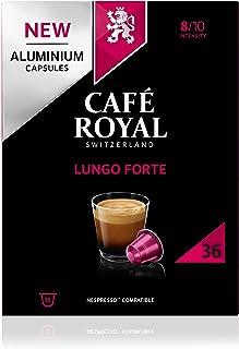 Café Royal Lungo Forte 36 Capsules en Aluminium Compatibles avec le Système Nespresso (R)*; Intensité: 8/10