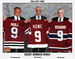 AJ Sports World Bobby Hull Signed Great Jersey #9 with Gordie Howe & Maurice Richard 8x10 Photo
