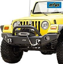 EAG Front Bumper with LED Lights and Light Frames Fit for 87-06 Jeep Wrangler TJ YJ