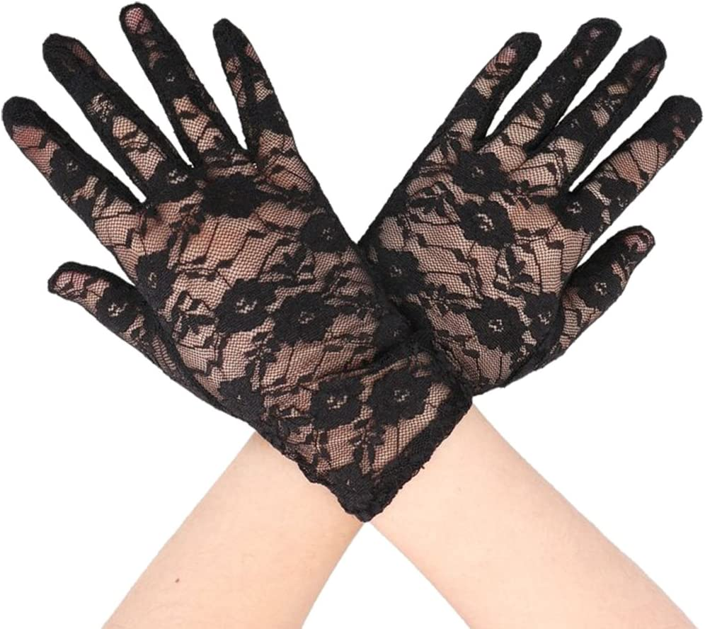 LIOOBO 1 Pair Womens Dallas Mall Lace Gloves Short Floral Bridal Max 56% OFF Pattern Glo