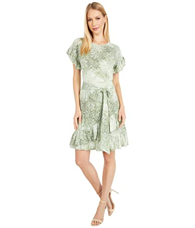 MICHAEL Michael Kors Paisley Ruffle Wrap Dress (Army Green) Women