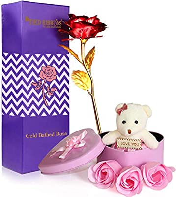 Blueride Valentine Gift for Boyfriend Girlfriend Husband Wife Girls Boys - Gift Combo Pack (Valentines Special 24K Gold Plated Rose, Scented Rose Flowers with Teddy Gift Box)