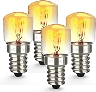 E14 25W Backofenlampe,Ofen Glühbirnen,kleiner Edison-Schraubsockel,2700K Wolframlicht Halogenlampe,Bis 300°C Hitzebeständiges,Leuchtmittel für Mikrowelle/Backofen, 4er Pack Energieklasse C
