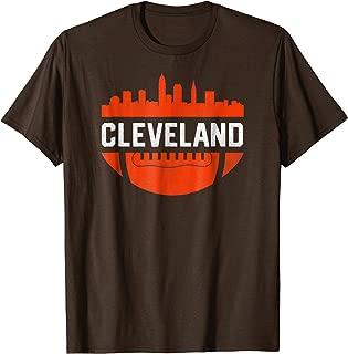 Vintage Downtown Cleveland Ohio Skyline Football T-Shirt