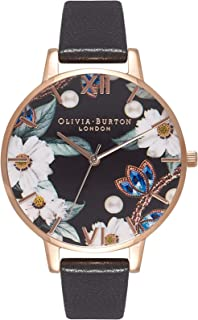 Olivia Burton Women's Black Dial Leather Band Watch - OB16BF04