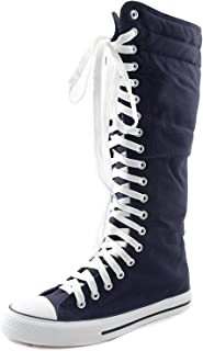 DailyShoes Mid Calf Knee High Woman Boots Tall Classic Canvas Sky High Lace up Stylish Punk Flat Sneaker Boots