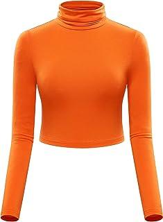 Womens Basic Slim Fit Long Sleeve Turtleneck Crop Top