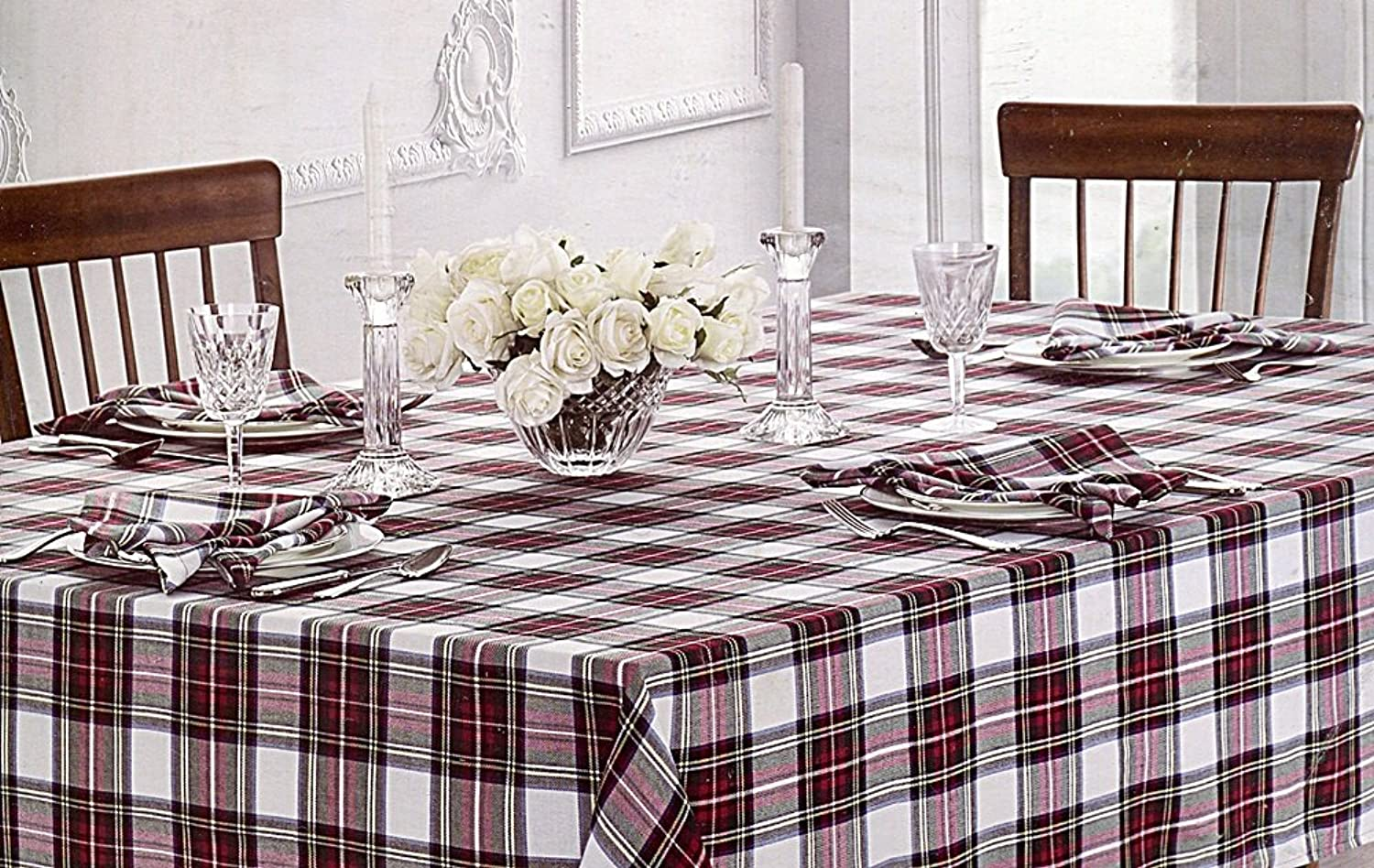 Waterford Table Linens Stewart Plaid Red Green Tablecloth, 70-by-126 Inch Oblong Rectangular