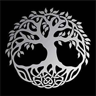 Celtic Tree of Life Vinyl Window Sticker Decal Car Wall Irish - Multiple Sizes and Colors - Die Cut No Background (Silver Matte, 5