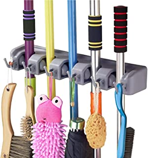 PRISMOSIS RETAIL 5 Slot Position Wall Mounted Mop and Broom Holder with 6 Hooks (Plastic, Standard)
